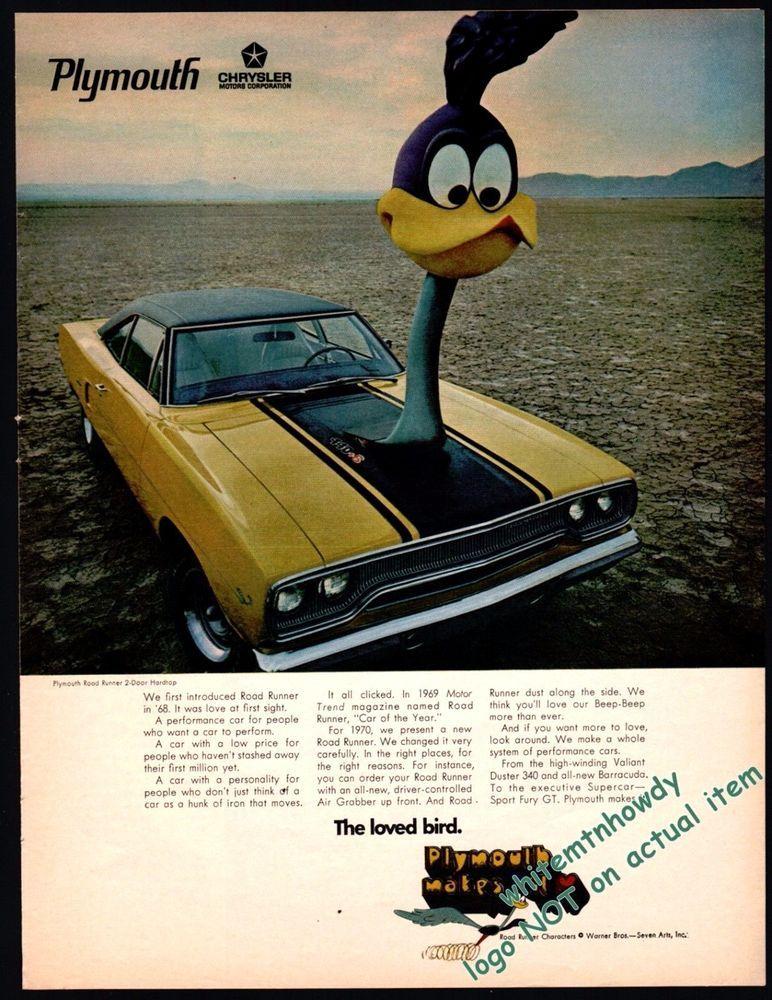 1970 Plymouth Road Runner 2 Door Hardtop Yellow Black Car Photo Ad Auto Carros Cores