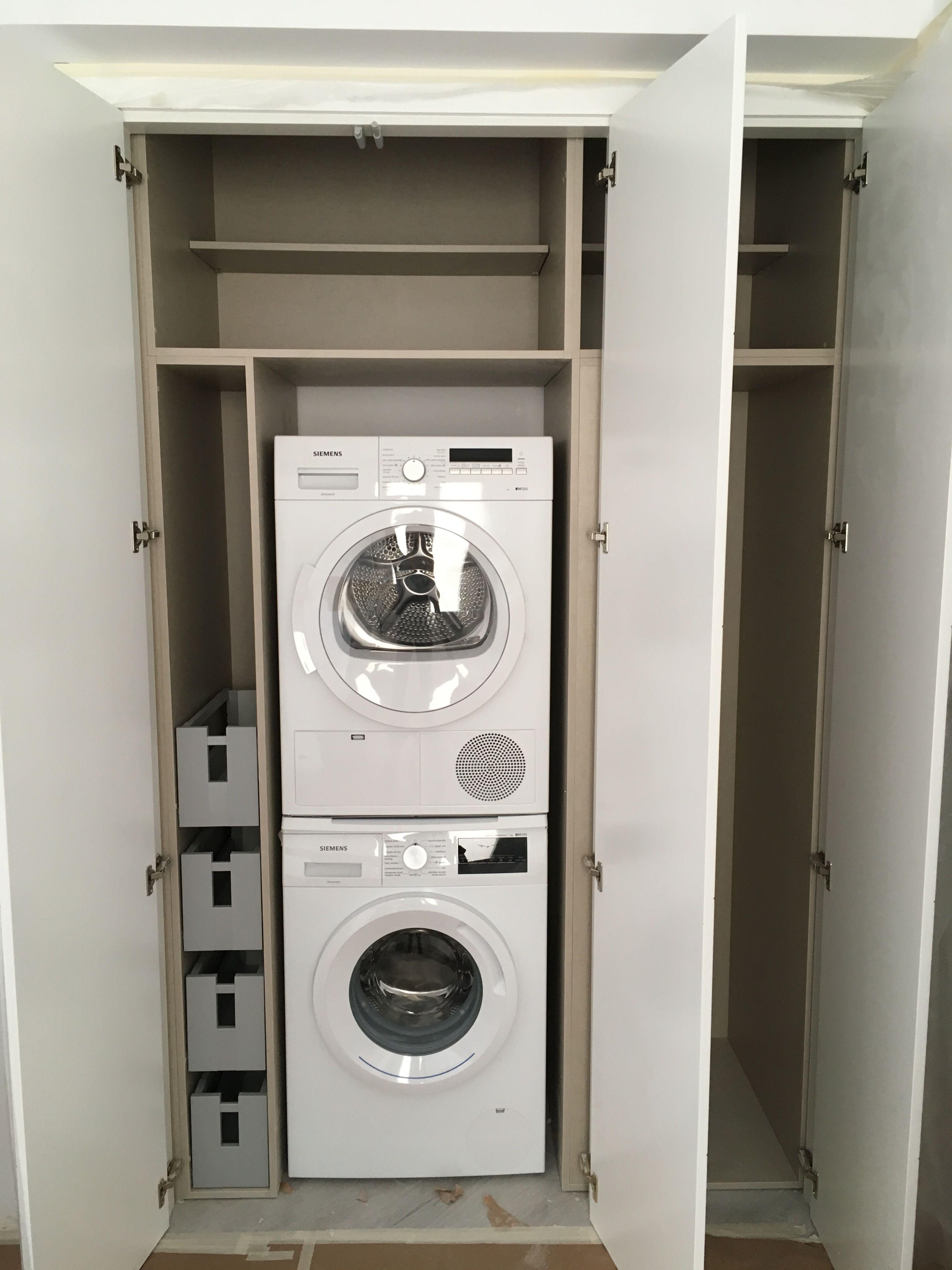 Armario Fabricado Para Ocultar Lavadora Y Secadora Armario Para Lavadora Mueble Para Lavadora Armario De Lavanderia
