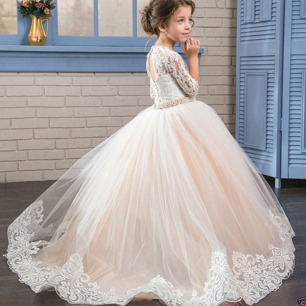 kids Girls Party Prom Lace Princess Pageant Bridesmaid Wedding Flower Dress Gown
