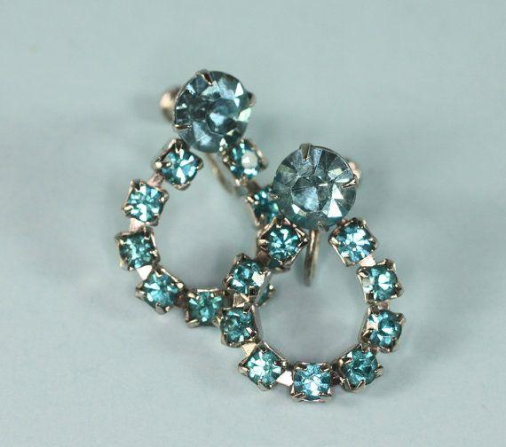 Vintage Turquoise Rhinestone Earrings Screw Back Dangle via Etsy