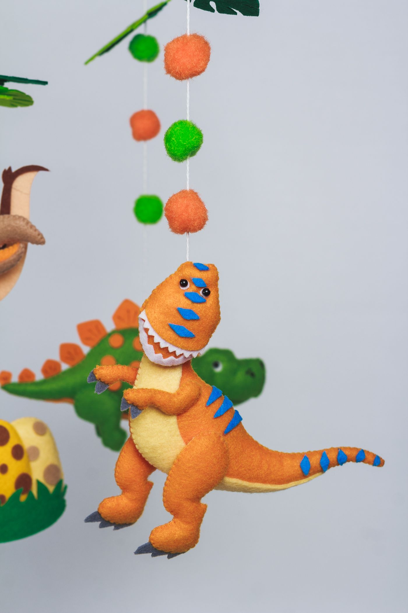 Dinosaur mobile for nursery with 5 different felt dinos