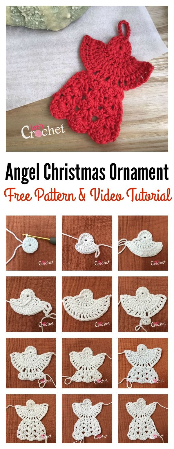 Angel Christmas Ornament Free Crochet Pattern And Video Tutorial Christmas Crochet Patterns Crochet Christmas Ornaments Free Christmas Crochet