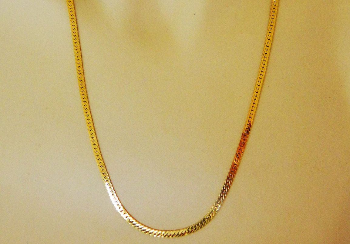 Vintage 80s Monet Herringbone Chain Flat Necklace Gold Tone Signed