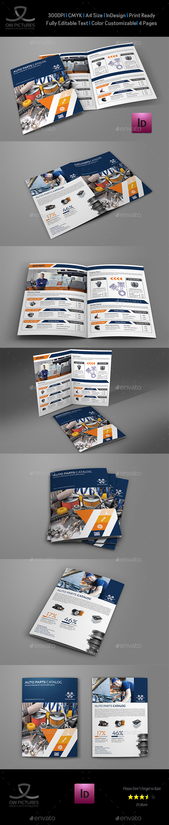 Auto Parts Catalog BiFold Brochure Template Vol Brochure - Bi fold brochure template indesign