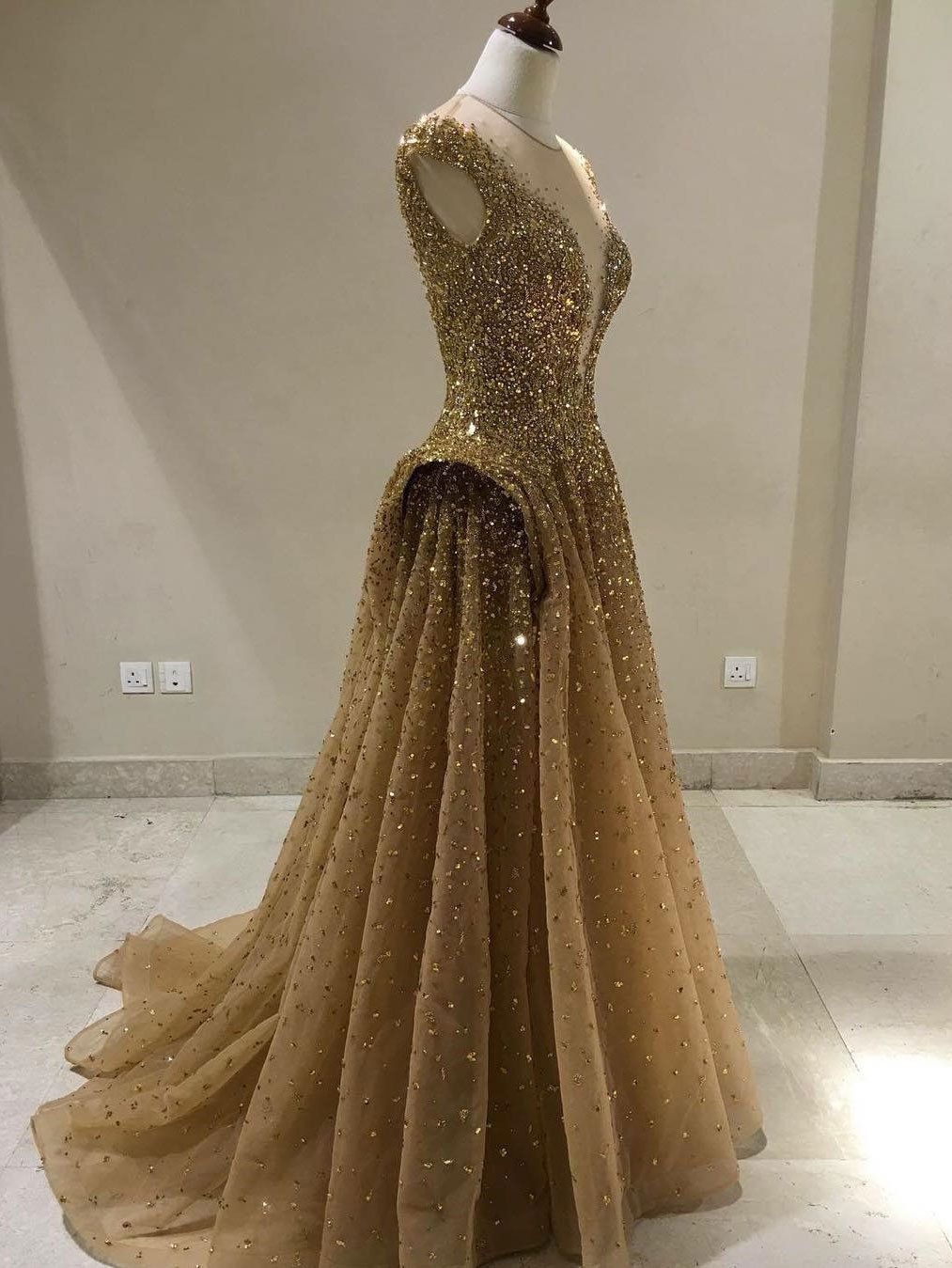 Aline vneck tulle with gold sequins beaded long prom dresses