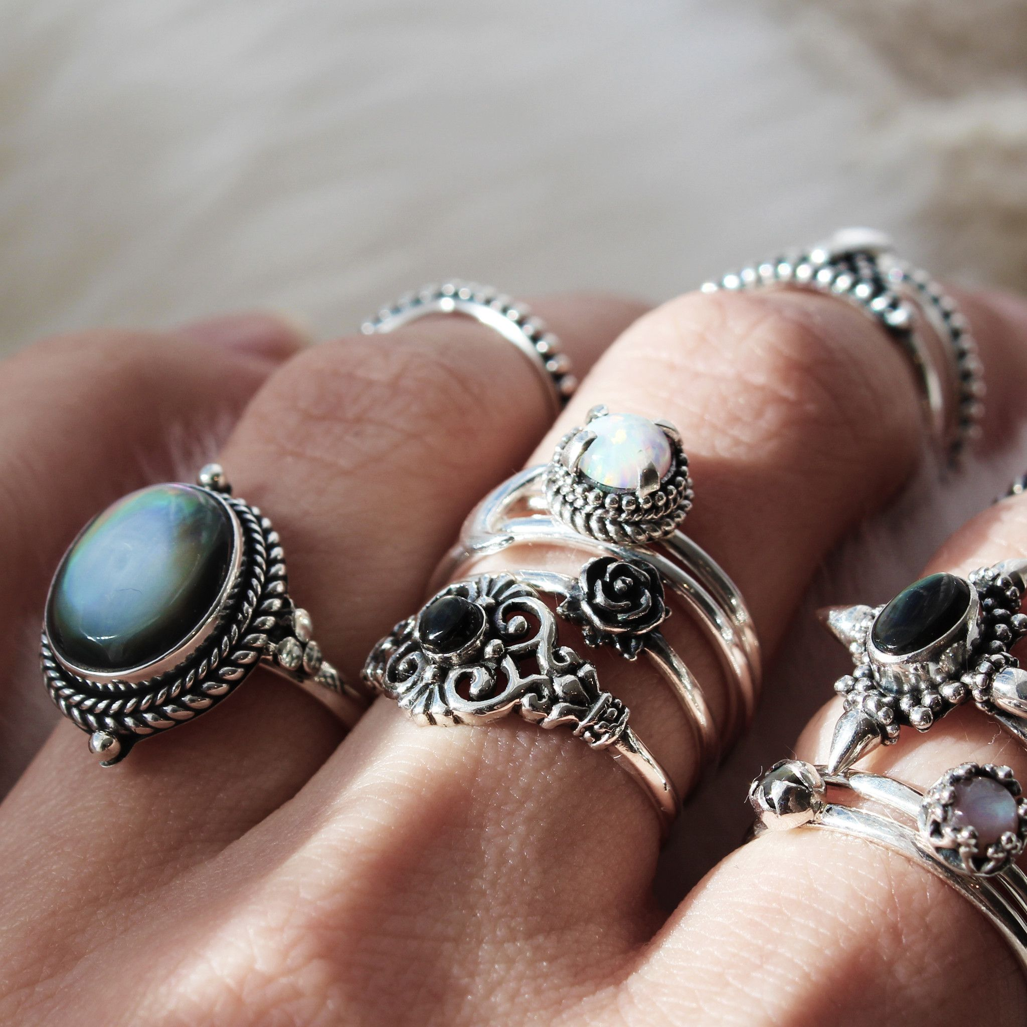 Gift voucher jewelry boho rings silver