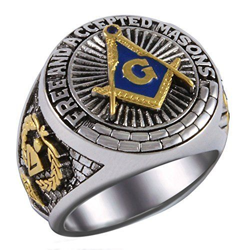 Custom Made Masonic Ring Magnificent Blue Stone AAA Level Free and Accepted Masons White and Yellow 18k Gold Plated 40 Grams Unique Handcrafted Highly Collectible