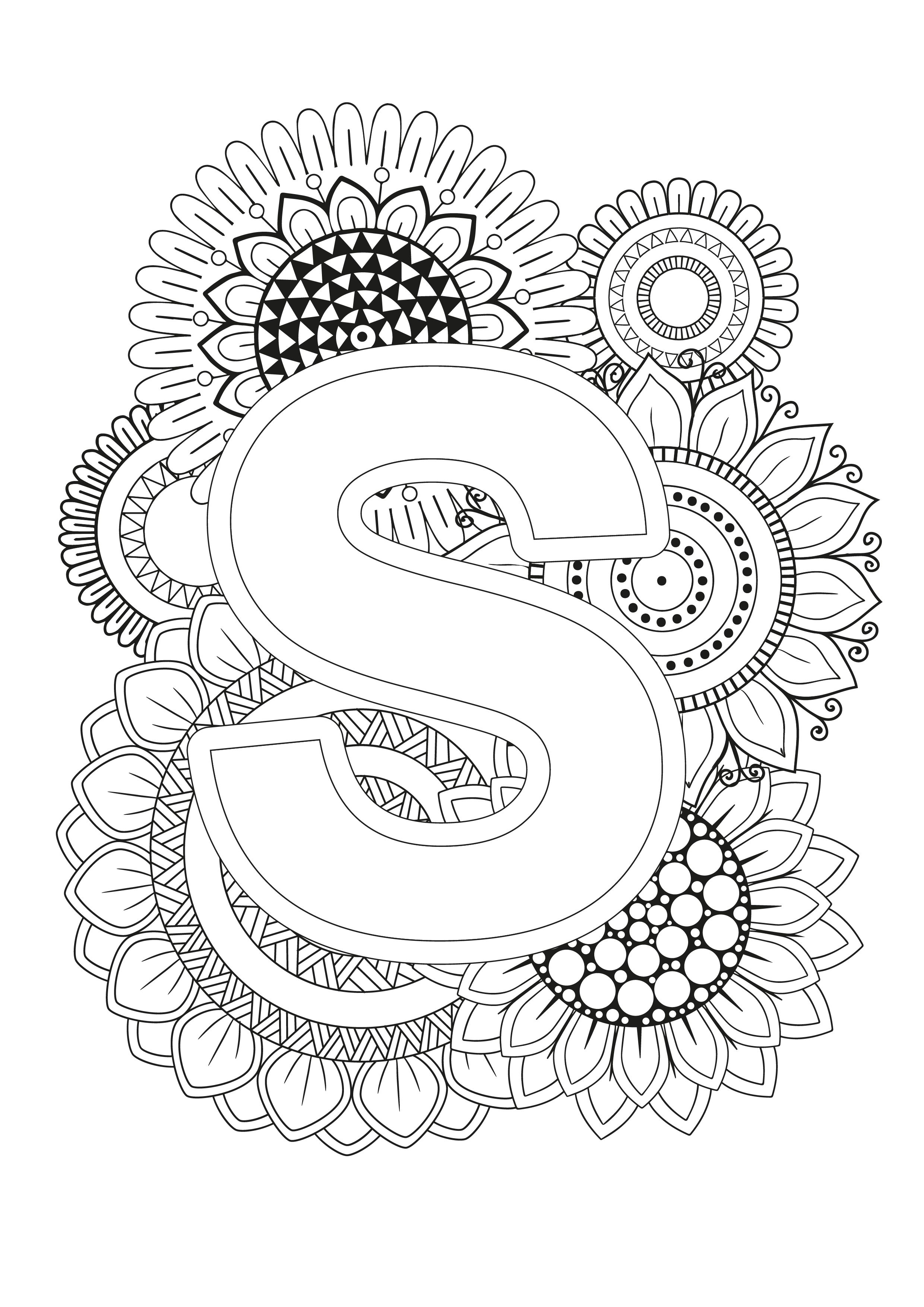 Mindfulness Coloring Page Alphabet Alphabet Coloring Pages Doodle Art Letters Free Coloring Pages