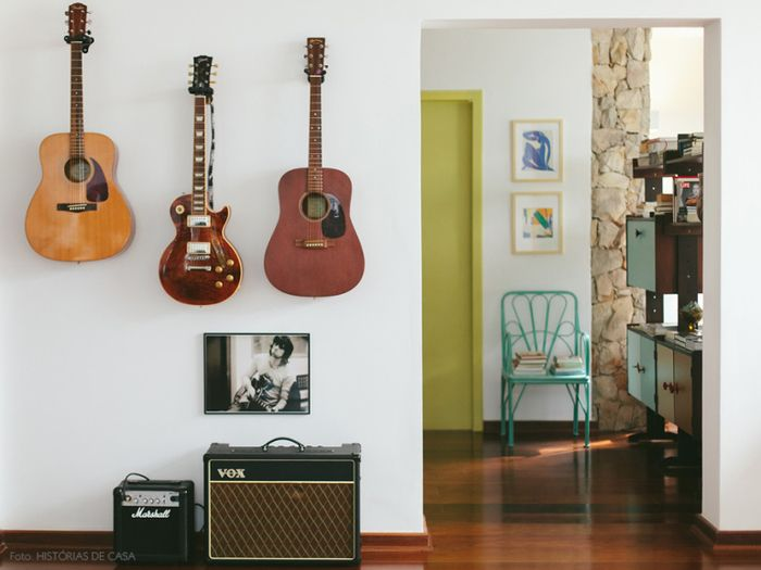 Vintage Einrichtung und Deko, Gitarren an der Wand, Ideen für ein - wandideen