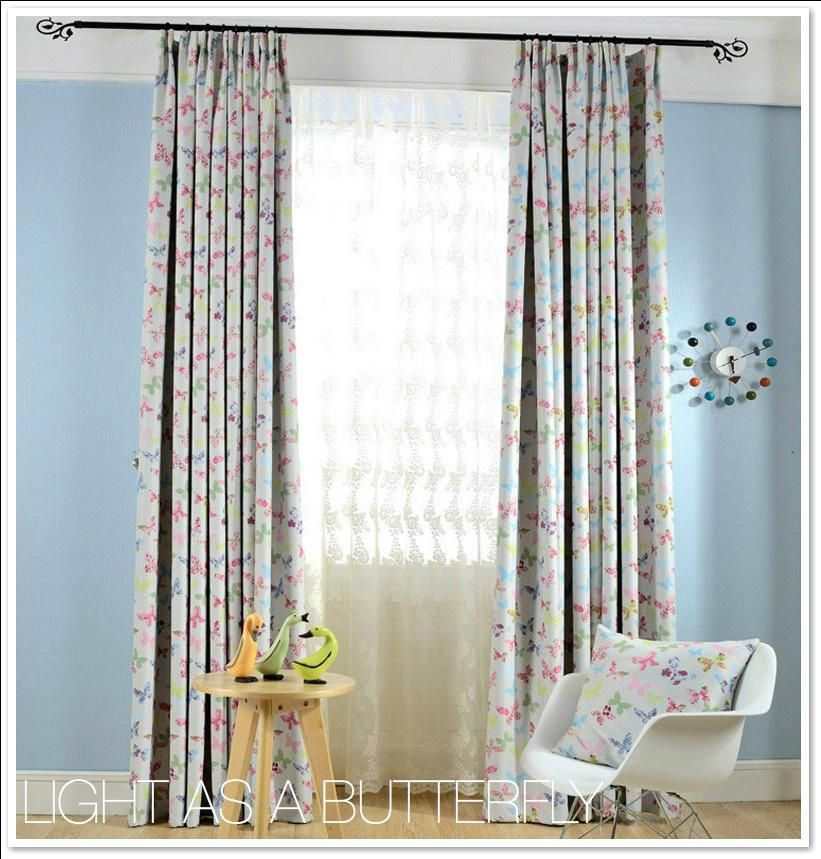 Modern Colorful Butterfly Sheer Blackout Curtain Set In 2020