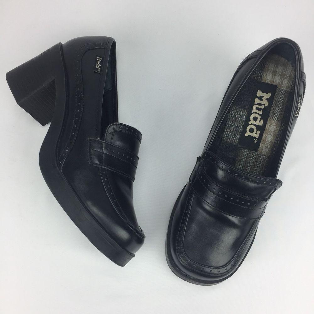 726d3f7fd47 Vintage 90s Black Chunky Heel Platform Loafers Women Size 8.5 M Goth ...