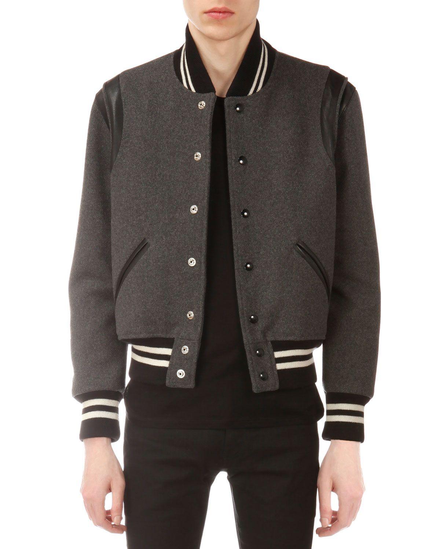 7a08180e30b Yves Saint Laurent Teddy Varsity Jacket, Men's, Size: 48, Gray ...