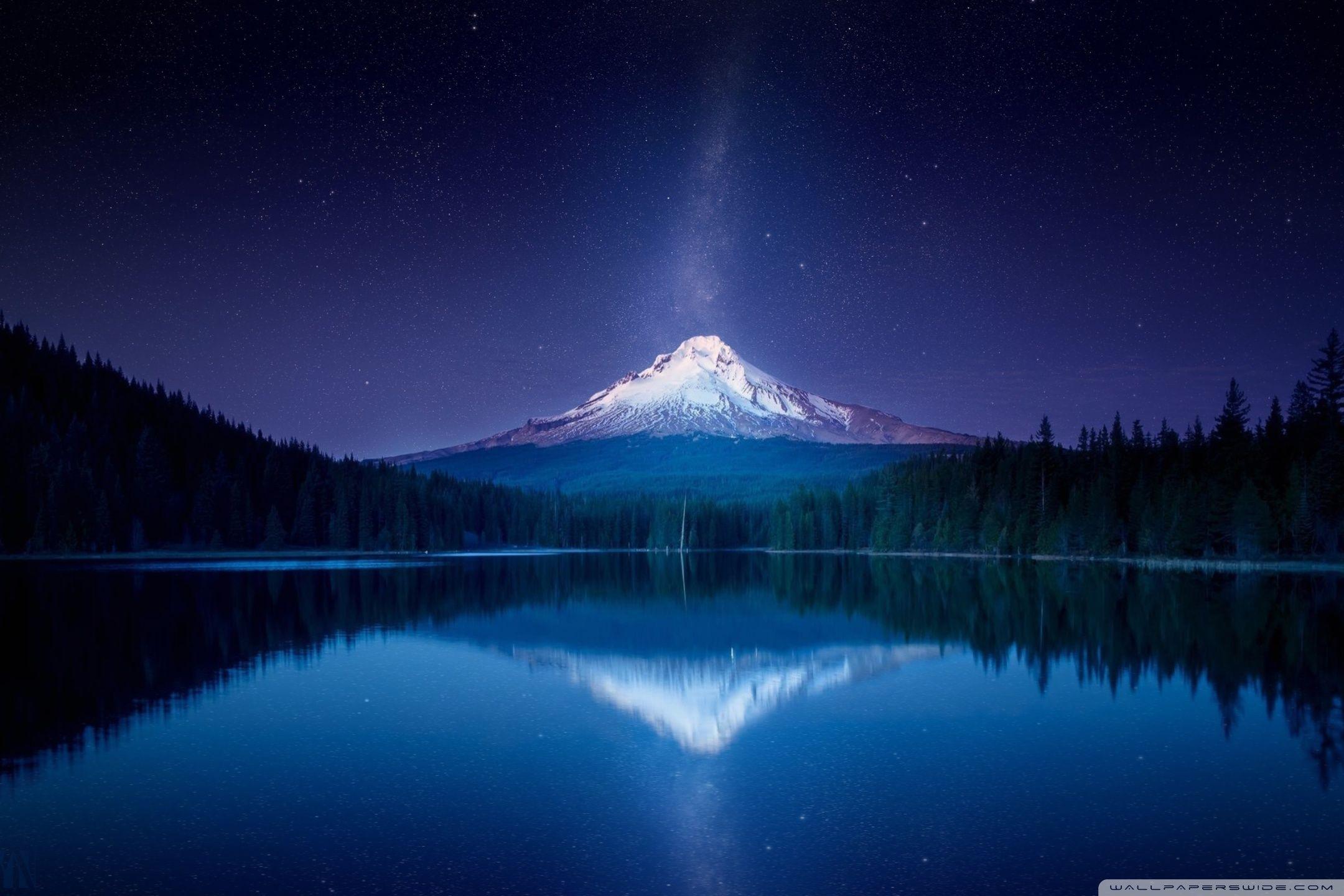 Amazing Mountain Wallpaper At Night Hd Desktop Wallpaper High Nature Wallpaper Mountain Wallpaper Trillium Lake