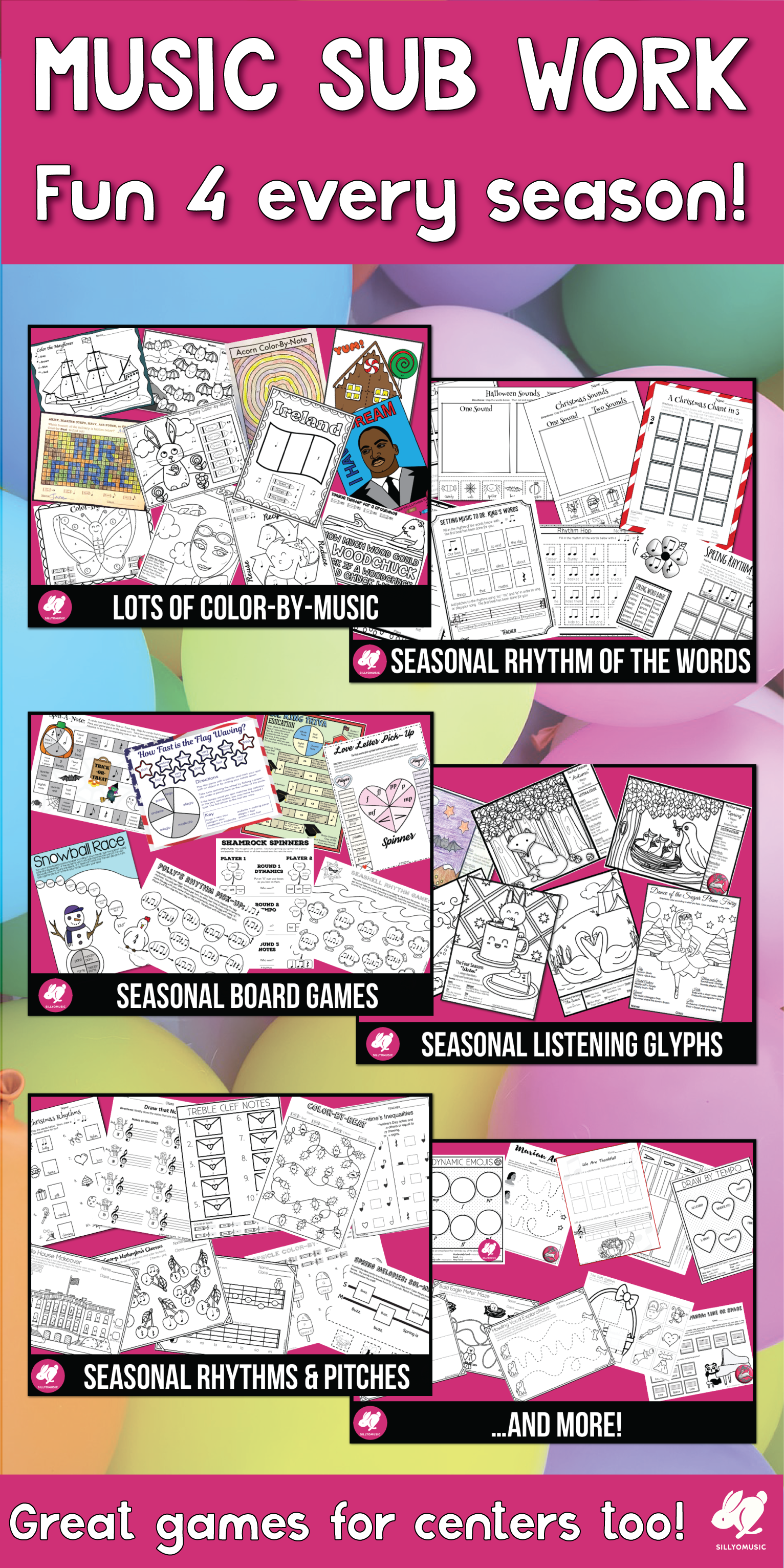 Seasonal Music Worksheets Growing Bundle Holidays For The