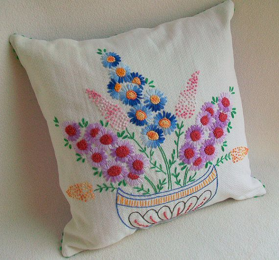 Pillow Sofa Cushion Re Purposed Vintage Flowers by sammysgrammy, $37.00