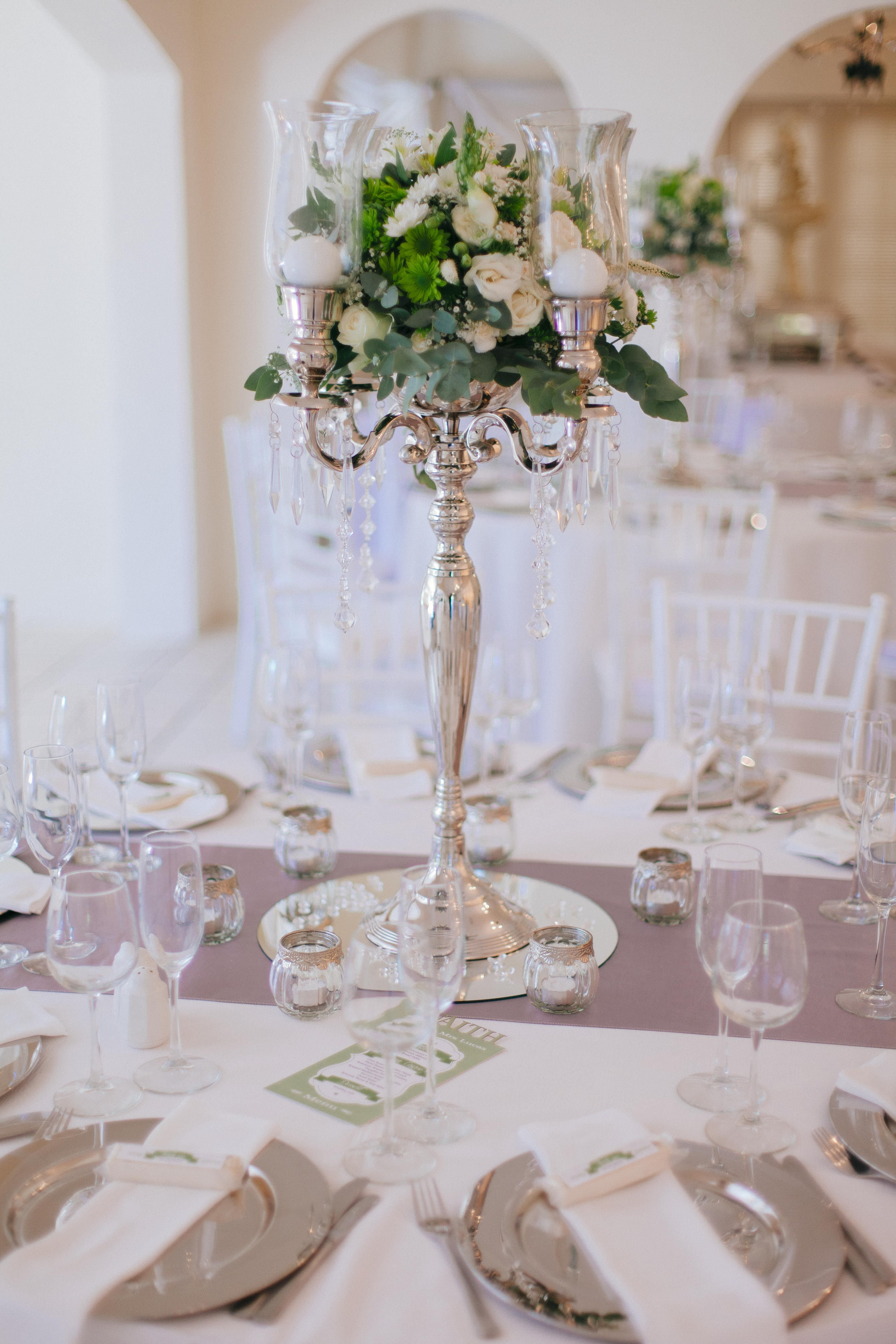Green and white mixed flower candelabra   Table Centrepieces - Lol\'s ...