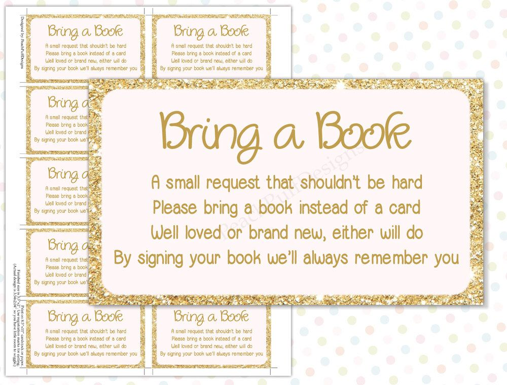 Bring a book instead of a card pink gold instant download