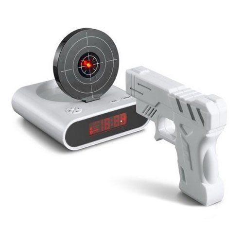 Gun Alarm Clock Target Wake Up Shooting Game Toy Novelty: Laser Target Gun Alarm Clock With LCD Screen Novelty