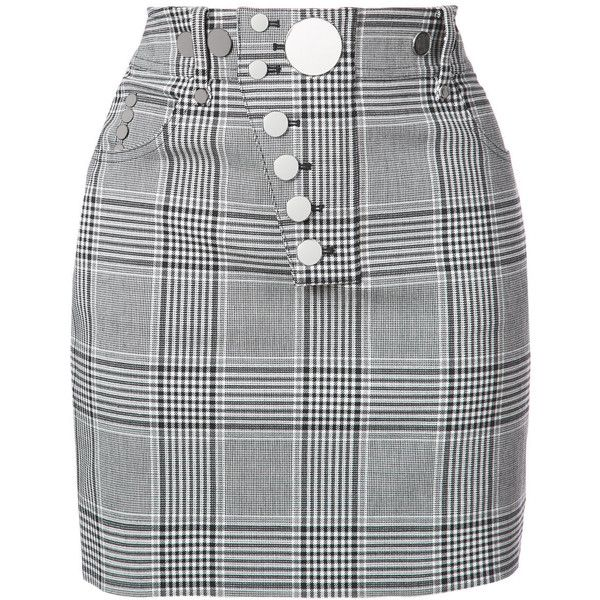 f8c1e9e2a8 Alexander Wang Black Checked Woven Mini Skirt ($545) ❤ liked on Polyvore  featuring skirts, mini skirts, black, woven skirt, woolen skirt, checkered  mini ...