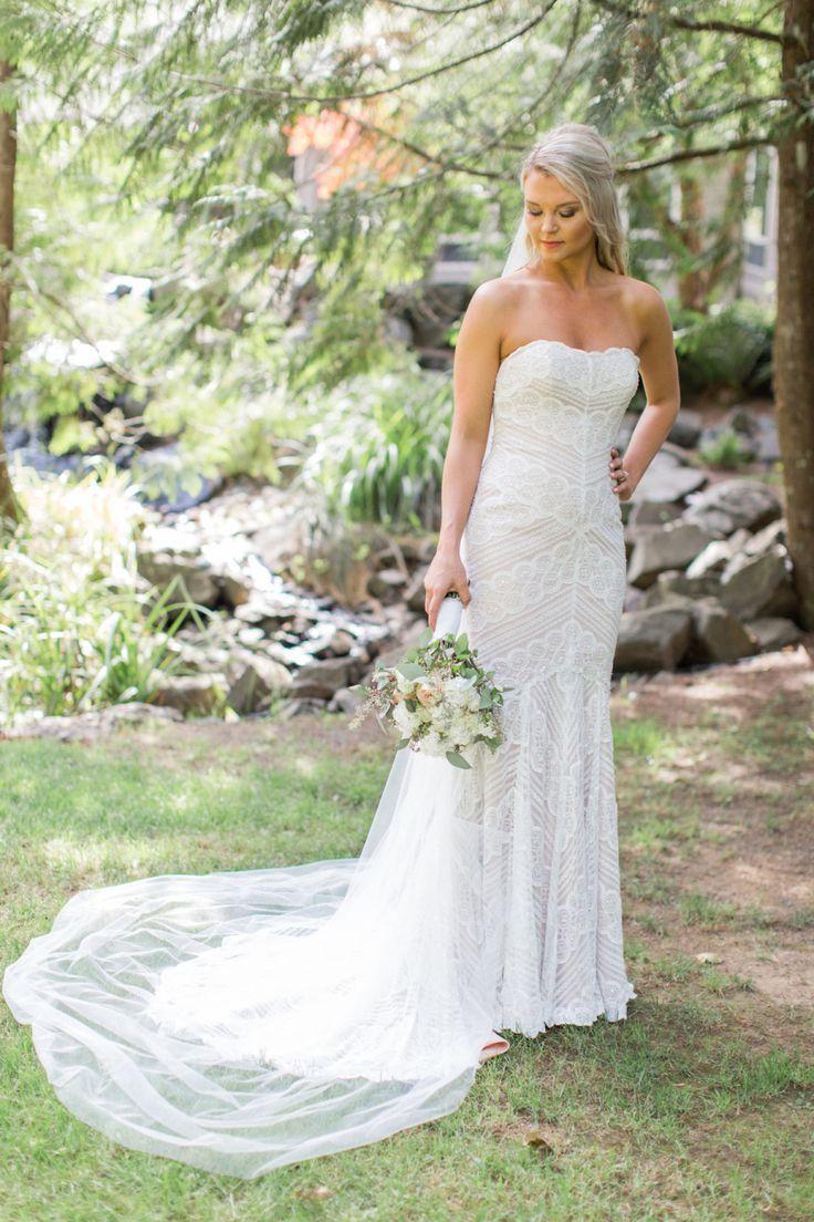Tendance robe de mariée strapless lace watters wedding