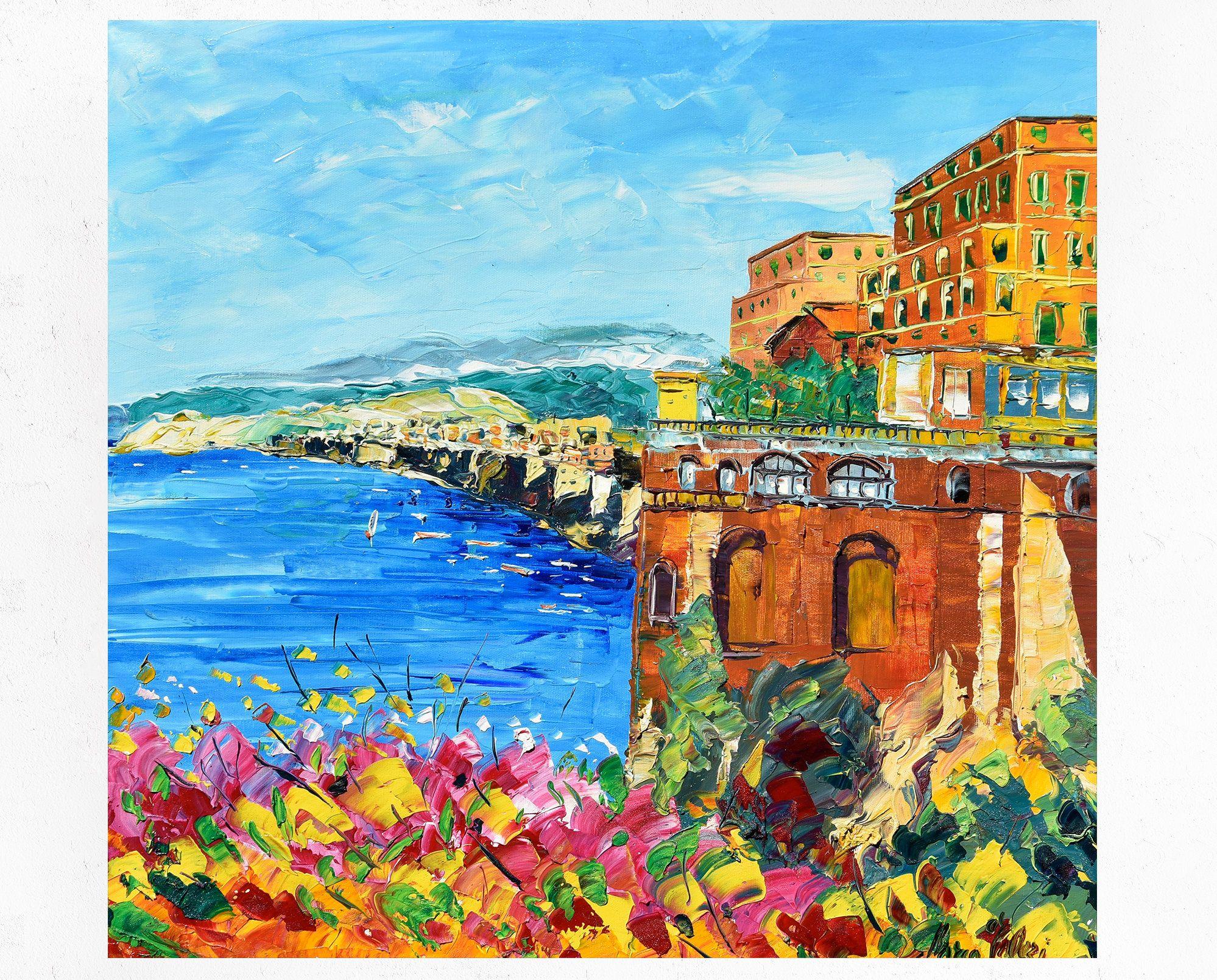 Sorrento painting on canvas, Amalfi coast, Hotel Victoria ...