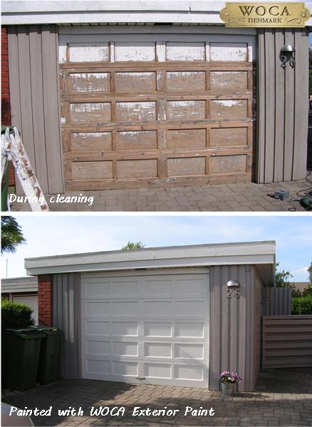 De garagepoort werd eerst grondig gereinigd met WOCA Exterior Cleaner en kreeg daarna twee lagen WOCA Exterior Paint Wit.