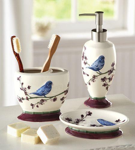 botanical bird bathroom accessory set
