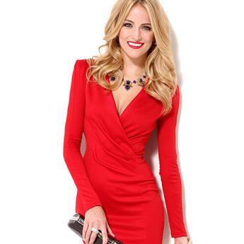 1587fda5261 Unomatch Women s American Style Deep V-Neck Full Sleeves Dress Red ...