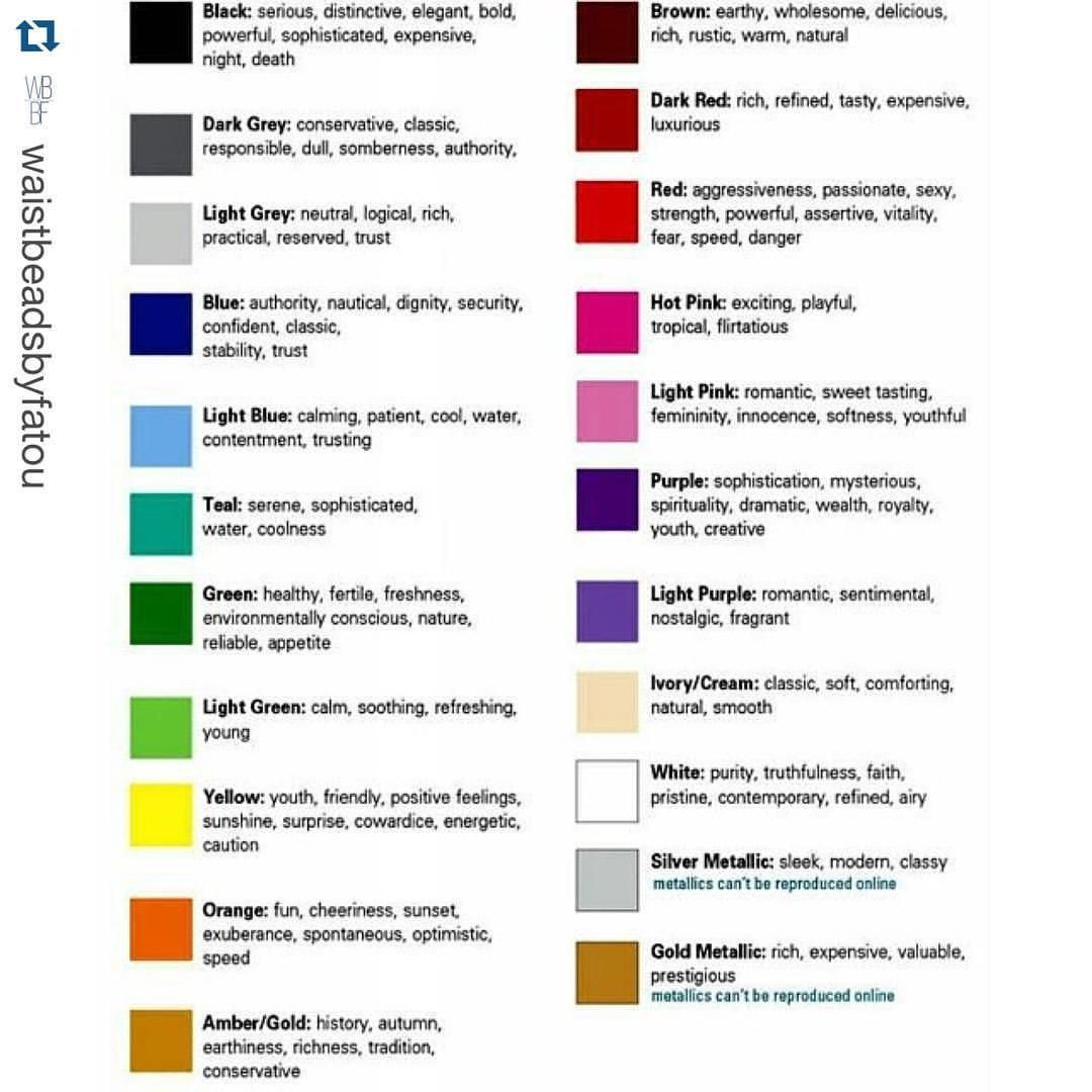 Color Meanings Use This Chart As A Guide When Picking Waistbeadsbyfatou That Best For You Waist Beads African Color Meanings Waist Jewelry