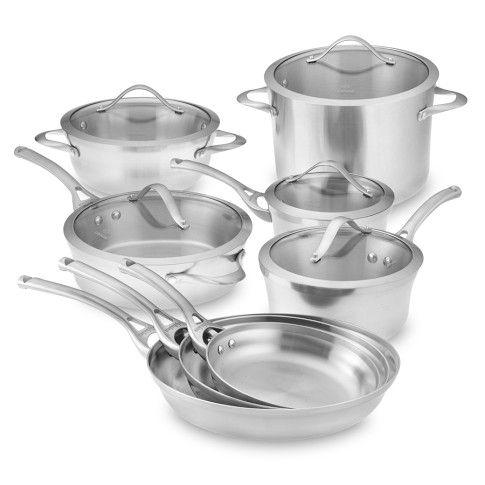 Calphalon Contemporary Stainless Steel 13 Piece Set Calphalon Contemporary Cookware Set Cookware Sets Calphalon contemporary stainless 13 piece cookware set