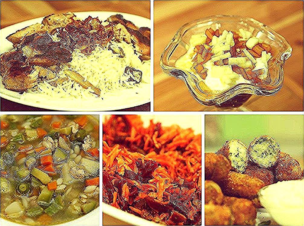 حلى التمر بالتفاح البرياني مع ماء الورد كروكيت الزهرة والبطاطا سلطة الجزر والشمندر المغربية شوربة الخضار Ramadan Menu Day 5 Meat Jerky Food Jerky