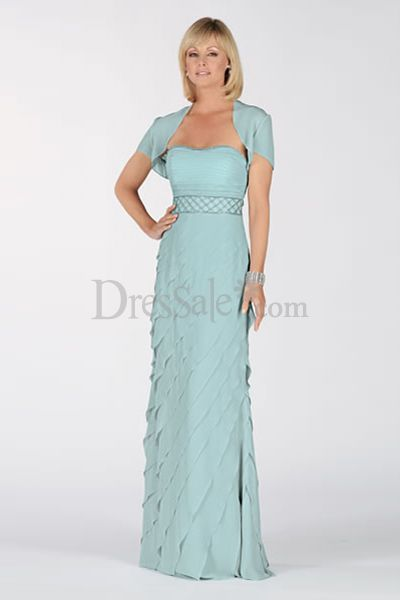 Light Sky Blue Strapless Tiered Mother of the Bride Dress