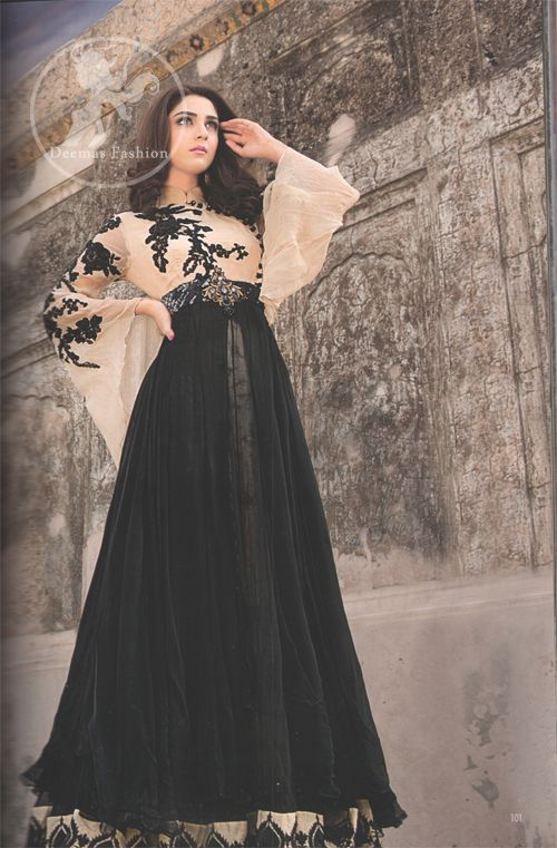 eb1f793e63 Latest Pakistani Semi Formal Fawn   Black Maxi