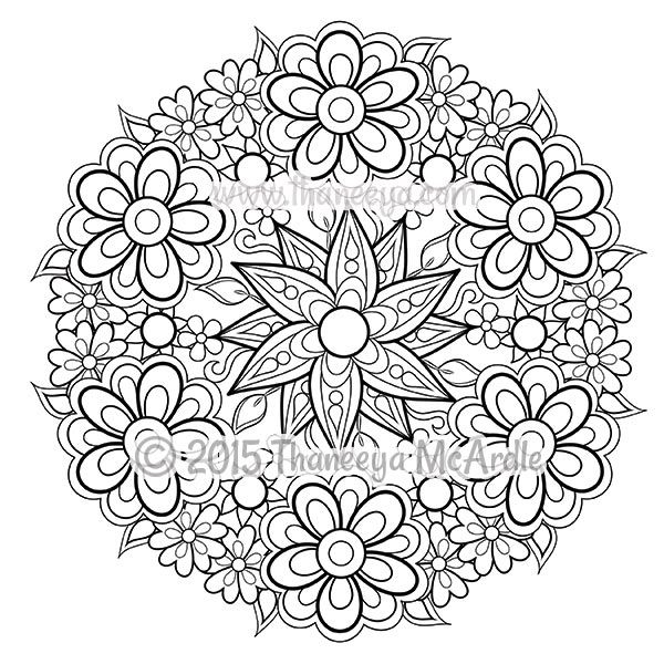 Floral Mandala Coloring Page Blank by Thaneeya | creative ideas ...