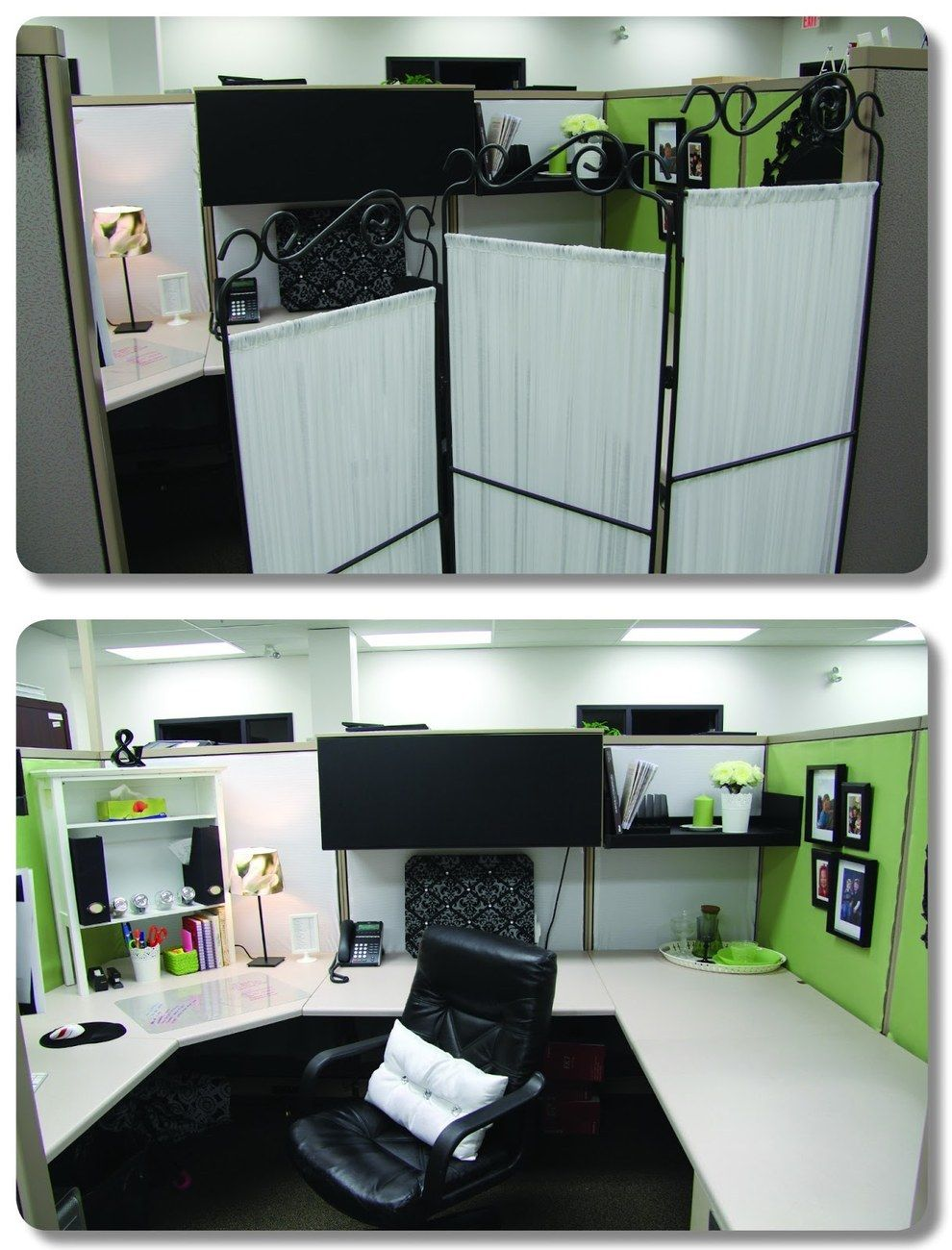 Cubicle Décor Ideas To Make Your Home Office Pop: Use A Room Divider To Create Some Semblance Of Privacy