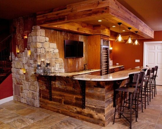 Charmant Rustic Home Bar Designs Image