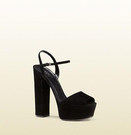 Gucci sandalo con plateau in camoscio