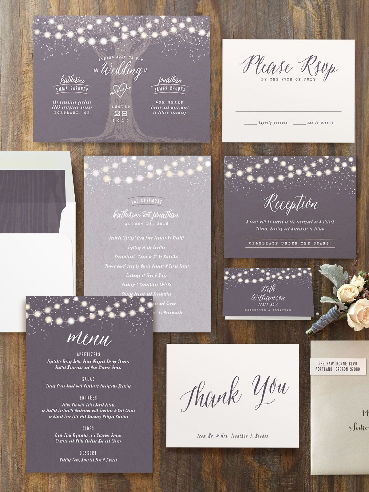 minted wedding invitations Garden Lights Customizable Wedding Invitations in Purple by Hooray Creative
