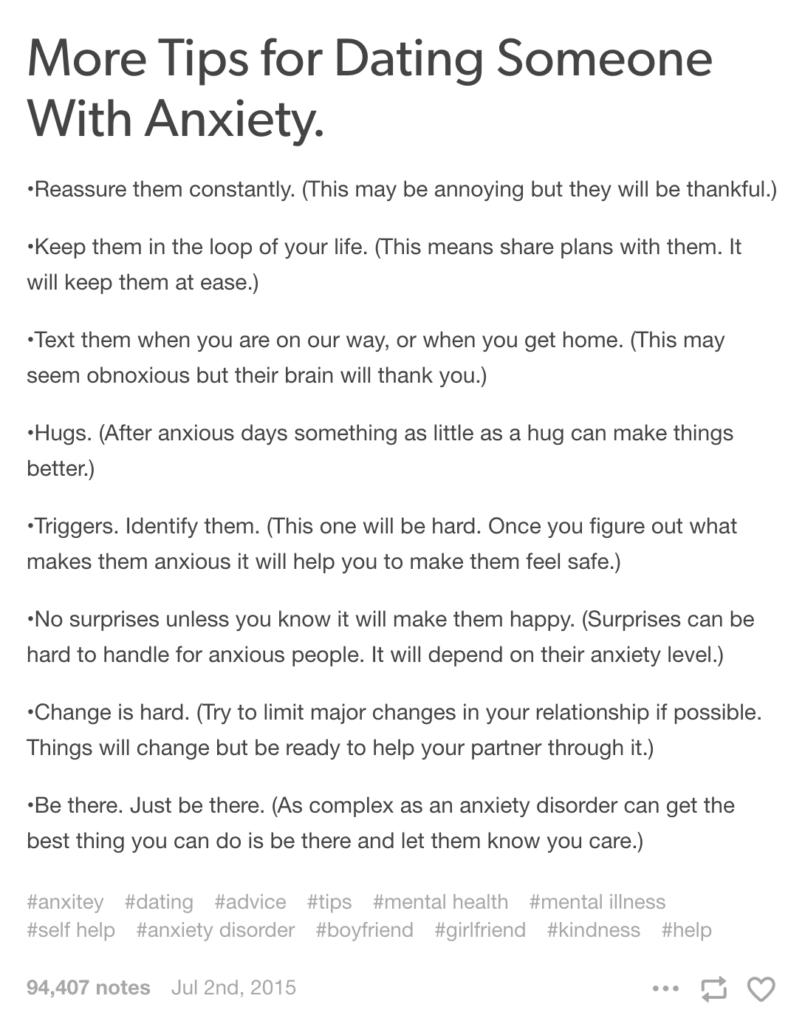 Things you should know dating someone with anxiety