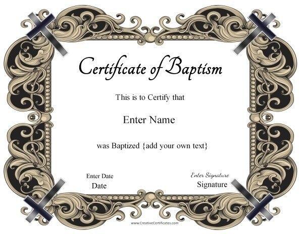 Baptism Certificate  Hi    Certificate Free Printable