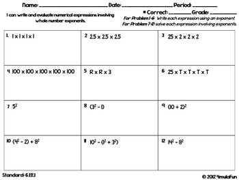 6th Grade Common Core Math Homework Sheets Expressions And Equations Teacherspayteachers Com Math Homework Equations Sixth Grade Math