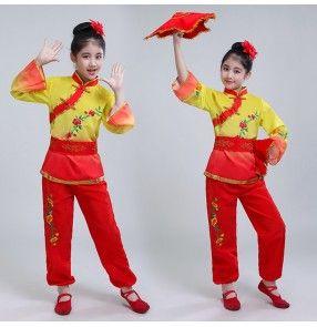 40ddfde13 Children Chinese folk yangko fan dance costumes for girls fairy ...