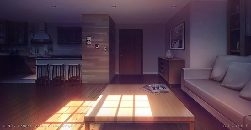 Living Room Dusk Visual Novel Background By Giaonp On Deviantart Anime House Living Room Background Anime Home Living room anime apartment background
