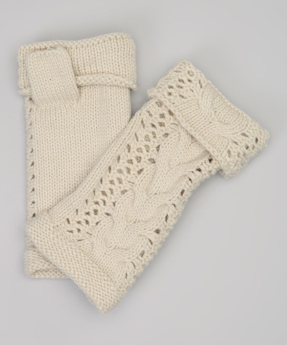 Look at this Cream Cable-Knit Fingerless Gloves on #zulily today!