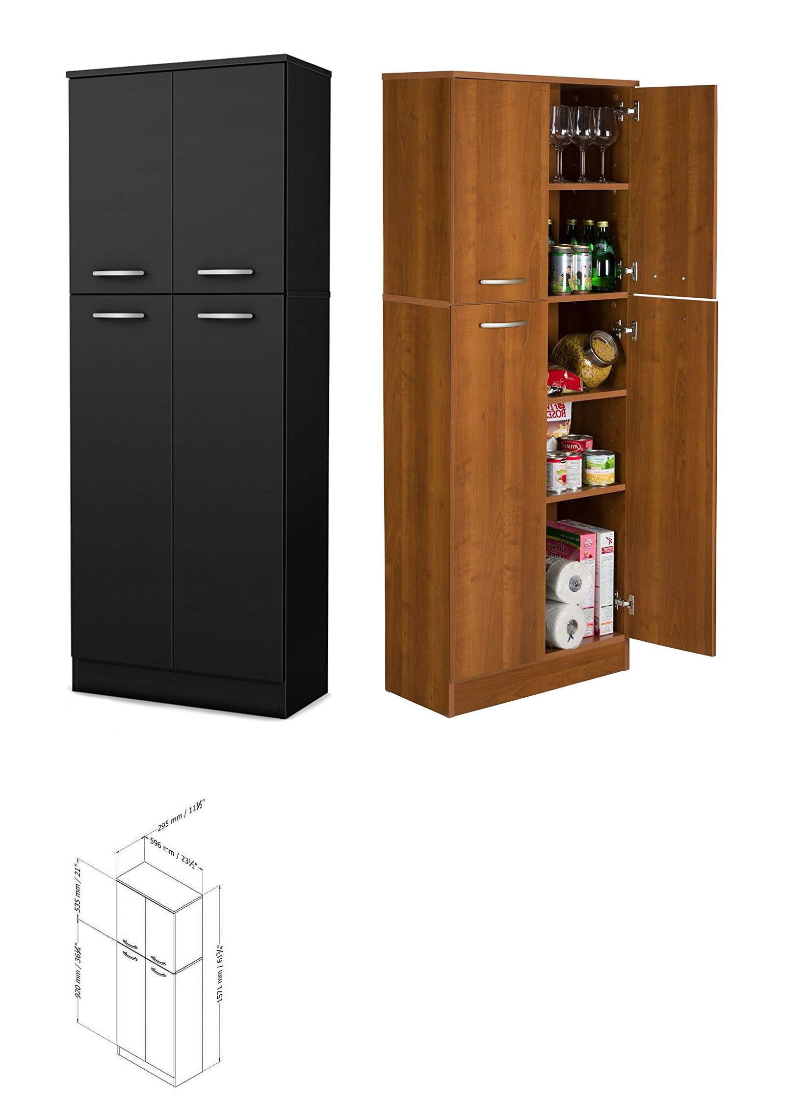 Kitchen Pantry Storage Cabinet Tall 5 Shelf 4 Door Food Organizer Wood Cupboard Ebay Kitchen Pantry Storage Cabinet Kitchen Pantry Storage