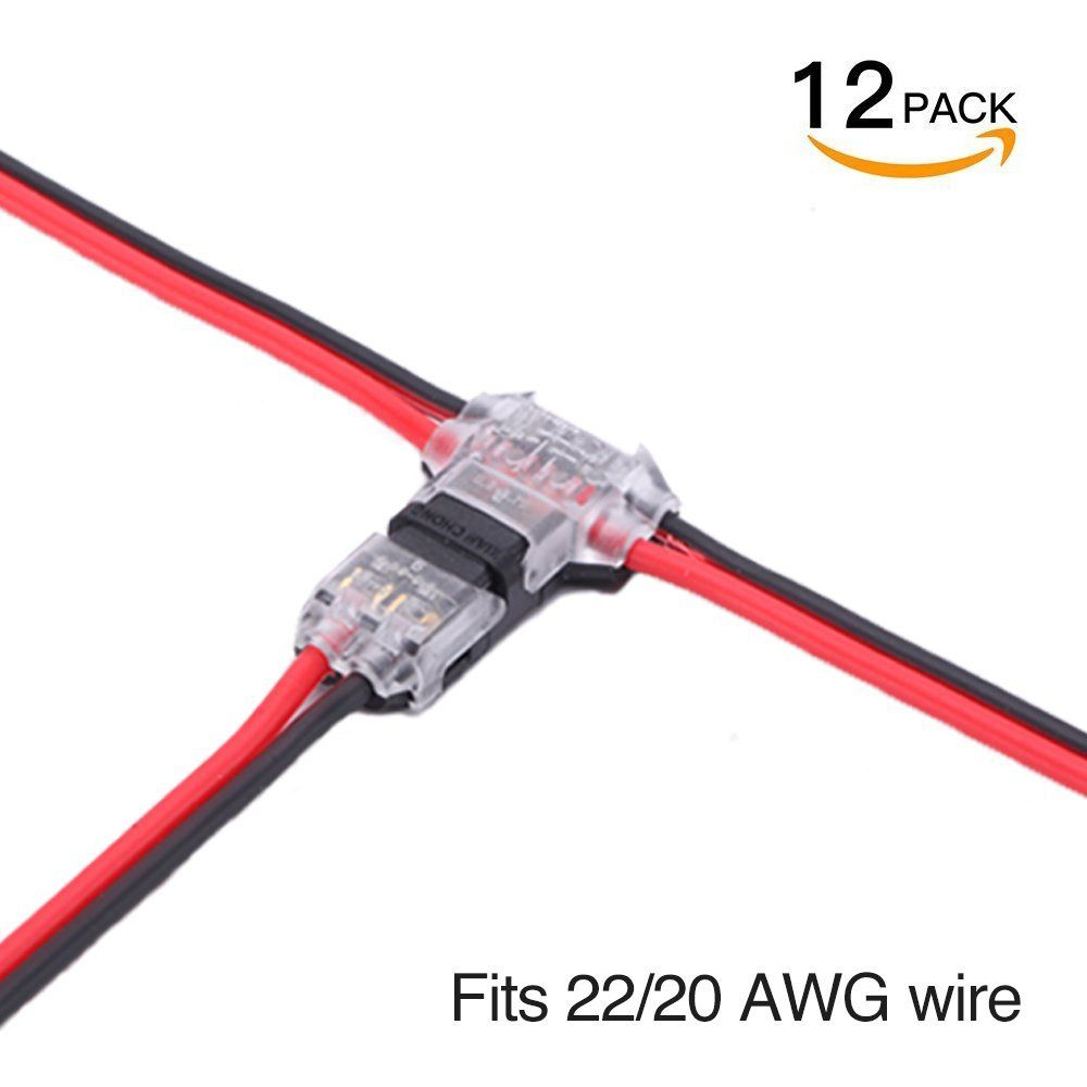 Amazon Com Wire Connectors Pack Of 12 Low Voltage Wire T Tap Connectors T Type 2 Pin Solderless With No Wire Stripping Requi Wire Connectors Wire Connectors