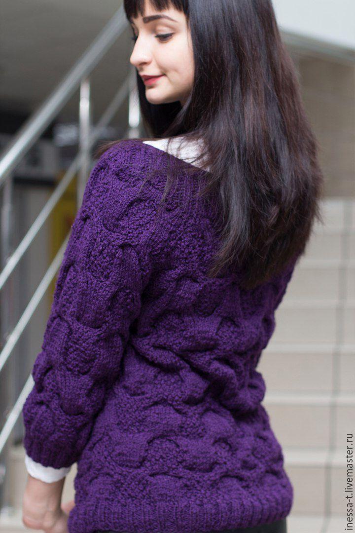 купить вязаный джемпер василек в черничном цвете тёмно фиолетовый