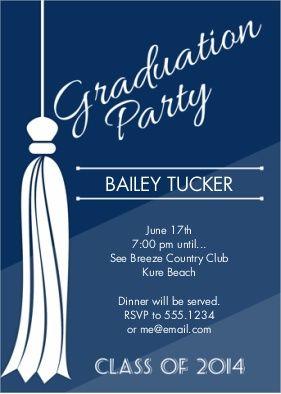 Class Of 2014 Tassel Ombre Stripes Graduation Party Announcement