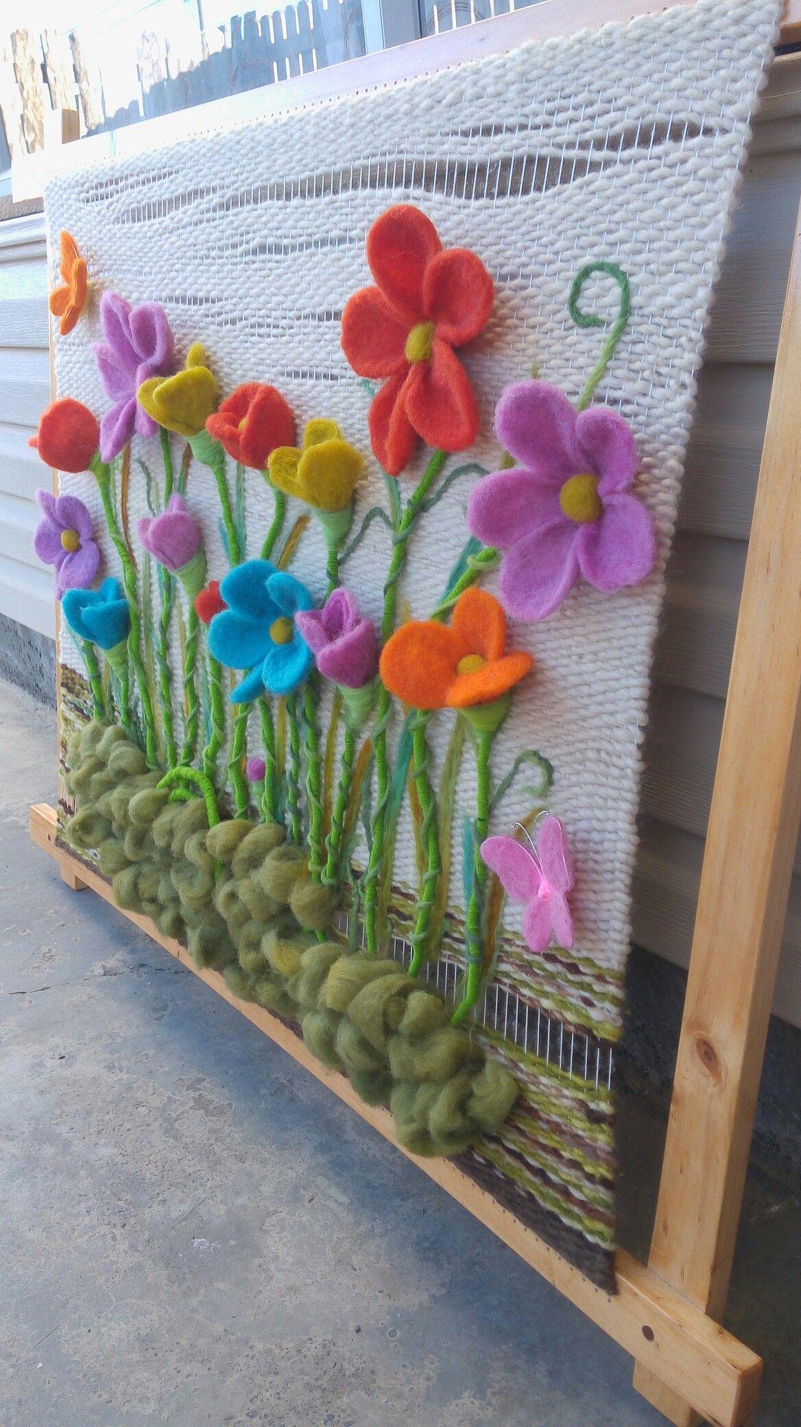 Telar Decorativo Flores Patrones De Tejido Técnicas