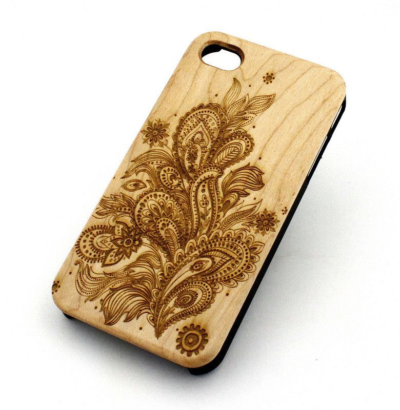 """Genuine Wood Case Snap On Cover for Apple IPHONE 6 (4.7"""") - """"Abstract Floral Pattern"""" mayan aztec flower rose"""